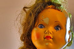 Head of beatiful scary doll like from horror movie Royalty Free Stock Images