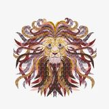 Head of a beautiful lion, mane with exquisite pattern.  Royalty Free Stock Image