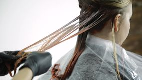 Head of a beautiful woman with peach hair dye in a beauty salon.  stock video footage