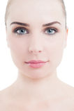 Head of beautiful woman with perfect skin. Head of beautiful woman with clean and perfect skin as skincare concept Stock Images