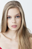 Head beauty shot blue eyes blond hair Royalty Free Stock Photography
