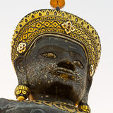 Head of big crowned buddha image - Isolated on white Stock Photography