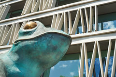 Head of big metal frog in Madrid. Statue of a frog in Madrid Stock Photos