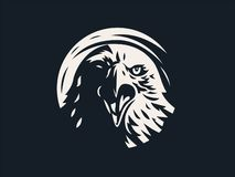 Eagle or hawk with outstretched wings. Head of bird of prey, eagle or hawk with. Vector illustration royalty free illustration