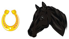 Horse and yellow object. Head of black horse with gold horseshoe Stock Photography