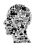 Head with black icon Background Stock Photos