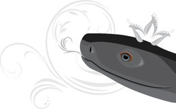 Head of a black snake with diamond crown Stock Photo