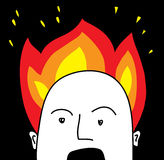 Head in blaze. The head in blaze like a metaphor of the very busy character Stock Photo