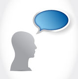 Head and blue speech bubble illustration design Stock Photography