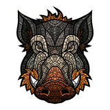 Head of boar mascot color in mosaic style Royalty Free Stock Photography