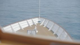 Head of boat. Vessel heading to the horizon, calm sea. Head of ship, motor boat or luxury yacht stock video footage