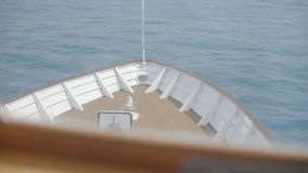 Head of boat. Vessel heading to the horizon, calm sea. Head of ship, motor boat or luxury yacht stock video