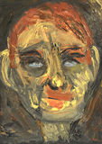 Head Of Bobby G. An Interesting Original Figurative Abstract Portrait in Oil Stock Photos