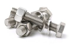Head bolt and nut with washer royalty free stock photography