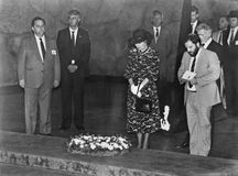 Margaret Thatcher. Head bowed, a somber Margaret Thatcher lays a wreath in Yad Vashem, the Holocaust Memorial, in Jerusalem, May 25, 1986. Her visit to the royalty free stock photography