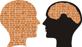 Head and brain of brick Royalty Free Stock Image