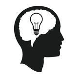Head brain bulb idea mind Royalty Free Stock Photography