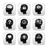 Head brain  buttons set. Thinking, creating ideas concept - square grey head buttons isolated on white Royalty Free Stock Photography
