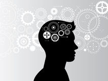 Head and brain gears in progress. Of computer web design and background Royalty Free Stock Photography