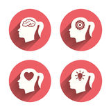 Head with brain icon.Female woman symbols Royalty Free Stock Photography