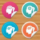 Head with brain icon. Female woman symbols. Royalty Free Stock Photo