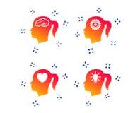 Head with brain icon.Female woman symbols. Vector. Head with brain and idea lamp bulb icons. Female woman think symbols. Cogwheel gears signs. Love heart. Random royalty free illustration