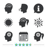 Head with brain icon. Male and female human symbols. Royalty Free Stock Images