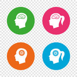 Head with brain icon. Male and female human symbols. Head with brain icon. Male and female human think symbols. Cogwheel gears signs. Woman with pigtail. Round stock illustration