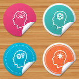 Head with brain icon. Male human symbols. Royalty Free Stock Photo