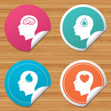 Head with brain icon. Male human symbols. Royalty Free Stock Photography