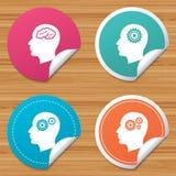 Head with brain icon. Male human symbols. Stock Photo
