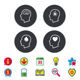 Head with brain icon. Male human symbols. Head with brain icon. Male human think symbols. Blood drop donation sign. Love heart. Calendar, Information and royalty free illustration