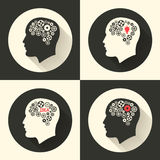 Head with brain and idea lamp bulb pictograph. Male human think symbols. Vector illustration. Royalty Free Stock Photography