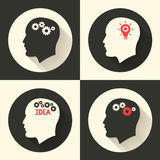 Head with brain and idea lamp bulb pictograph. Male human think symbols. Vector illustration. Stock Photo