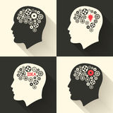 Head with brain and idea lamp bulb pictograph. Male human think symbols. Vector illustration. Royalty Free Stock Image