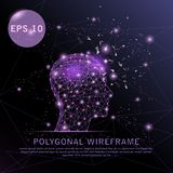 Head with brain purple background futuristic wire frame. stock illustration