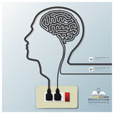 Head And Brain Shape Electricline Education Infographic Backgrou Royalty Free Stock Image