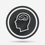 Head with brain sign icon. Male human head. Stock Images