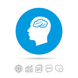 Head with brain sign icon. Male human head. Head with brain sign icon. Male human head think symbol. Copy files, chat speech bubble and chart web icons. Vector Royalty Free Stock Photography