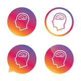 Head with brain sign icon. Male human head. Stock Photos