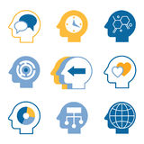 Head brain vector icons Royalty Free Stock Photography