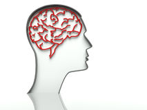 Head with brain on white background, text space Stock Photos