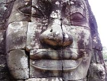 Head of Buddha at Bayon temple Stock Photos