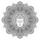 Buddha Mandala Coloring Page. Head of Buddha on floral round mandala background. Sign for tattoo, textile print, mascots and amulets. Esoteric coloring page stock illustration