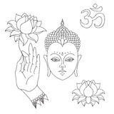 Head of Buddha. Om sign. Hand drawn Buddha hand with lotus flower. Isolated icons of Mudra. Beautiful detailed, serene. Vintage de Stock Images