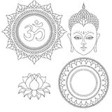 Head of Buddha. Om sign. Hand drawn lotus flower. Isolated icons of Mudra. Beautiful detailed, serene. Vintage decorative elements Stock Photography