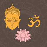 Head of Buddha. Om sign. Hand drawn lotus flower. Isolated icons of Mudra. Beautiful detailed, serene. Vintage decorative elements Royalty Free Stock Images