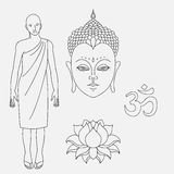 Head of Buddha. Outline buddhist monk. Om sign. Hand drawn lotus flower. Isolated icons of Mudra. Beautiful detailed, serene. Vint Stock Images