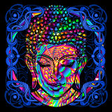Head of a Buddha is a psychedelic painting Stock Images
