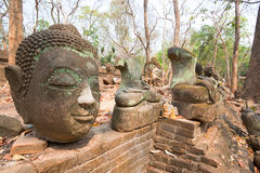 Head of Buddha statue in forest at Wat Umong Stock Photo